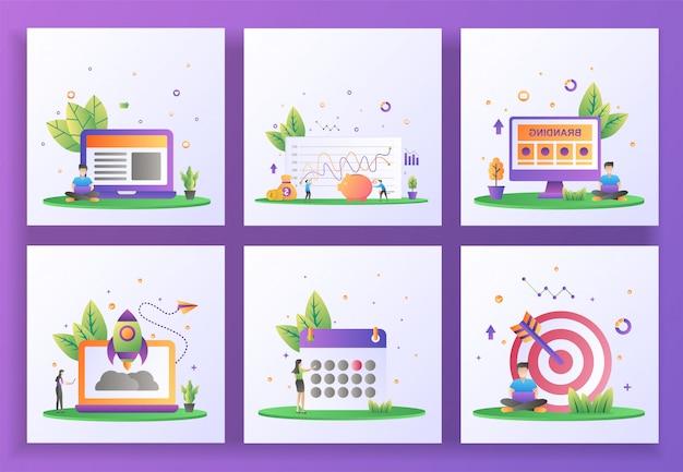 Set di concept design piatto. gestione, investimenti, branding, avvio, pianificazione, targeting.