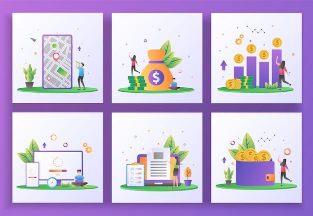 Set di concept design piatto. gps, contabilità, utile sul capitale investito, sistema di aggiornamento, creatore di contenuti, guadagnare denaro.