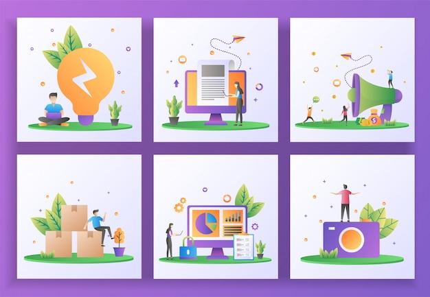 Set di concept design piatto. soluzione aziendale, ultime notizie, segnala un amico, distribuzione, sicurezza dei dati, fotografia. , app mobile