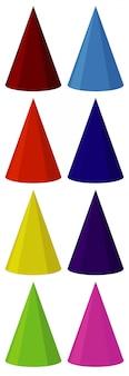 Set di coni di diversi colori