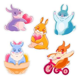 Set di conigli simpatici cartoni animati. coniglio con cuore, bicicletta, saluto. etichetta