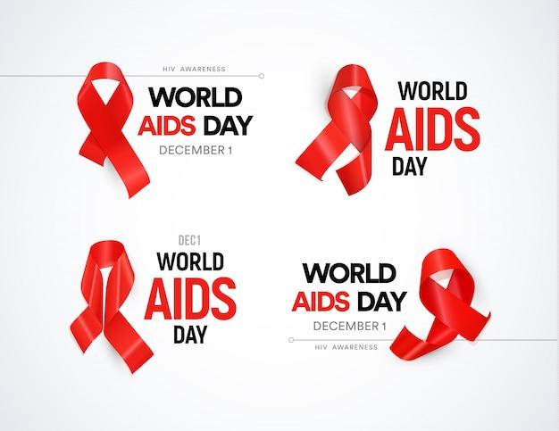 Set di consapevolezza dell'hiv. nastri rossi con luce vivida, raccolta di segni di giorno del mondo aiuta.