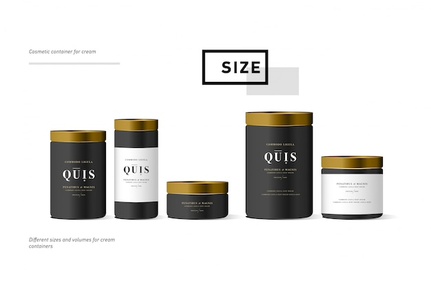 Set di contenitore crema cosmetica nero realistico per crema lozione. mock up bottiglia. gel, polvere, balsamo, con etichetta dorata.