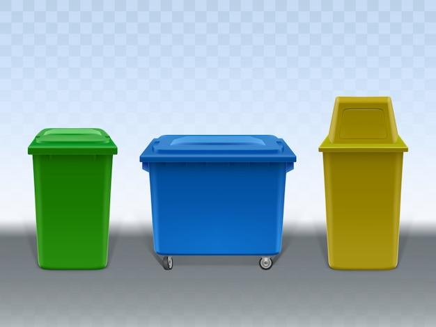 Set di contenitori dell'immondizia isolato su sfondo trasparente.