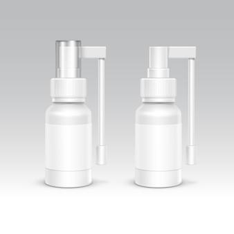 Set di contenitori per imballaggi in plastica bianca. cure mediche cosmetiche. illustrazione vettoriale isolato vuoto