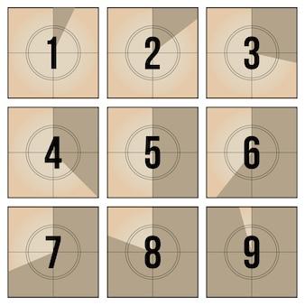 Set di conto alla rovescia per fotogrammi di pellicola d'epoca