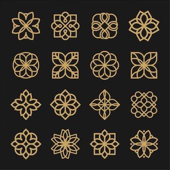 Set di contorno logo ornamento. logo universale di lusso