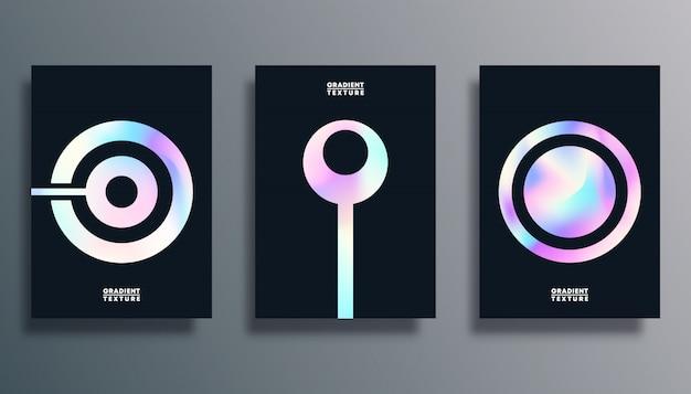 Set di copertina con forme di trama sfumata ologramma