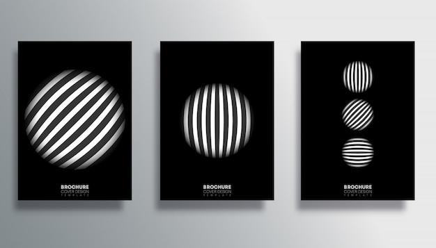 Set di copertina con set di poster a strisce di cerchio