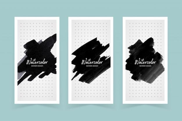 Set di copertina stoke di vernice di colore scuro dell'acquerello