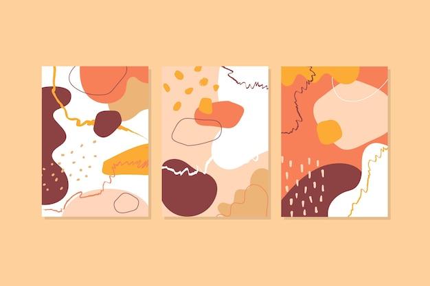 Set di copertine di forme disegnate a mano astratte