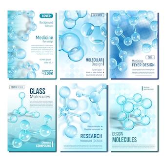 Set di copertine di ricerca scientifica sul dna