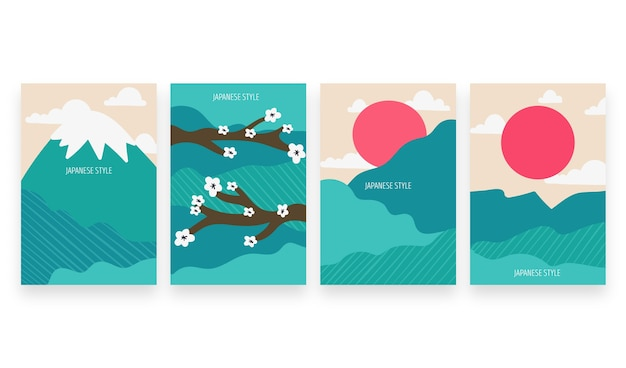 Set di copertine giapponesi colorate minimal