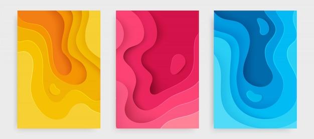 Set di copertine melma astratto giallo, rosa e blu.