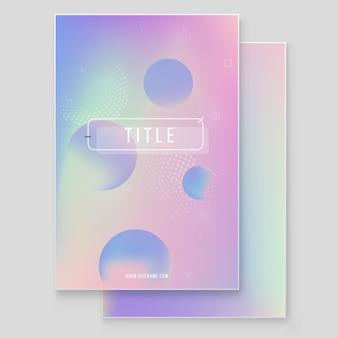 Set di copertura olografica moderna furistica. stile retrò anni '90 e '80. elementi olografici geometrici grafici stile hipster.