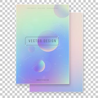 Set di copertura olografica moderno futuristico. stile retrò anni '90, '80. holographic geometrico grafico stile hipster.