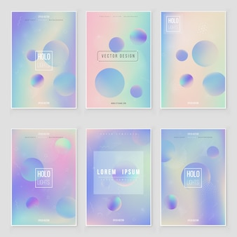 Set di copertura olografica moderno futuristico. stile retrò anni '90, '80.