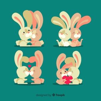 Set di coppia di coniglio di san valentino