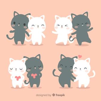 Set di coppie di gatti disegnati a mano