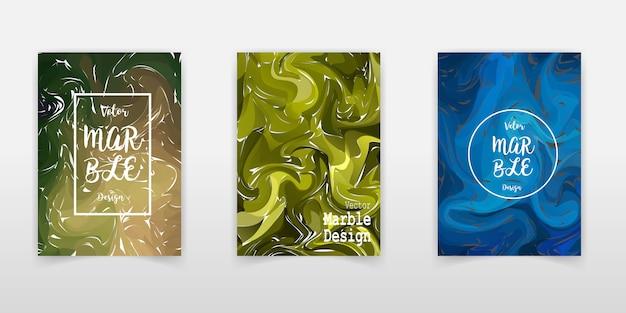 Set di copri texture in marmo. sfondi artistici colorati.