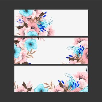 Set di cornice floreale con fiori colorati.