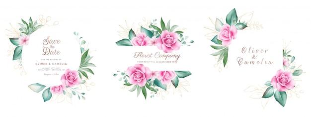 Set di cornice floreale dell'acquerello. illustrazione botanica della decorazione delle rose e delle foglie dell'oro.