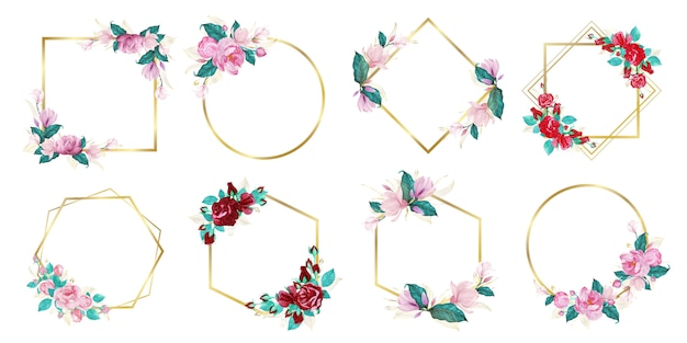 Set di cornice floreale dell'acquerello per matrimonio monogramma logo e logo design del marchio