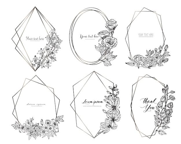 Set di cornice geometrica con fiori disegnati a mano. composizione botanica