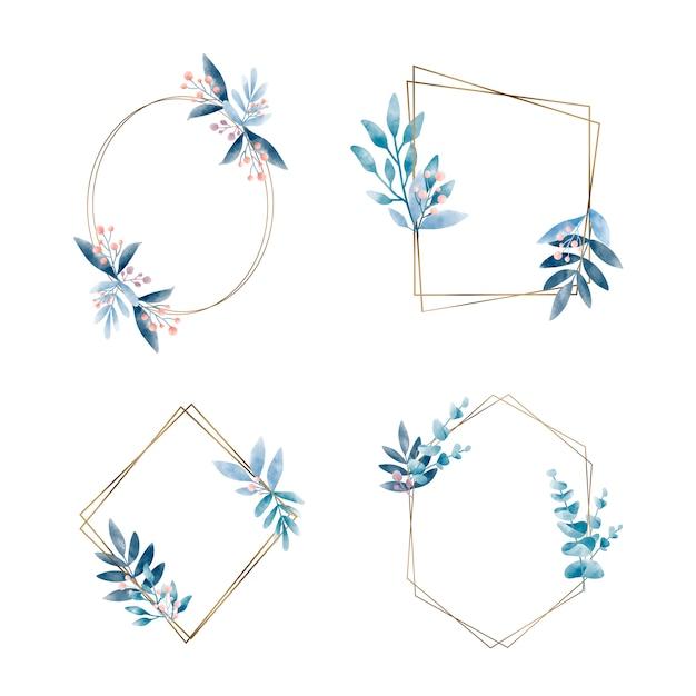 Set di cornice geometrica con foglie vettoriale