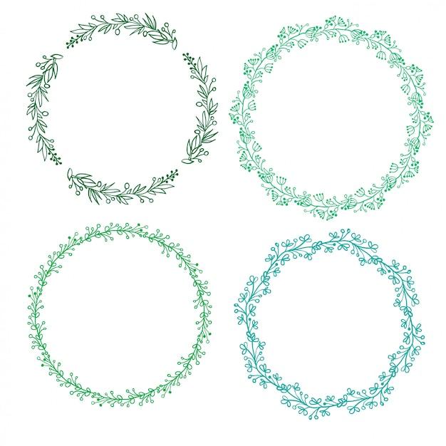 Set di cornice rotonda decorativa e bordi art. illustrazione di calligrafia