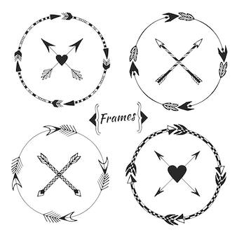 Set di cornici a freccia, confine tribale. collezione di doodle etniche