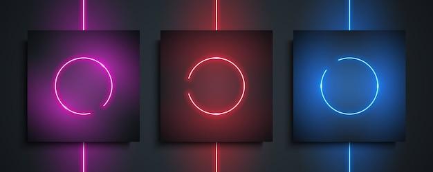Set di cornici al neon circolari. lampada al neon luminosa di notte, cerchio di luce incandescente su sfondo nero