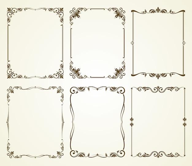 Set di cornici calligrafici vintage vettoriale