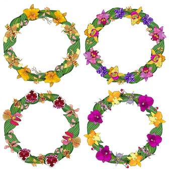 Set di cornici circolari fatte di orchidee ed elementi floreali.