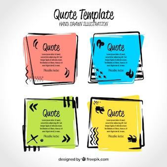 Set di cornici colorate disegnate a mano per le citazioni