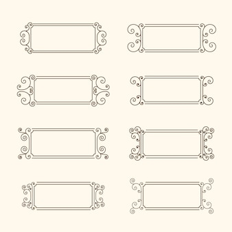 Set di cornici d'epoca. cornice con volute e decoro delle foglie, cornice monocromatica in stile vintage.