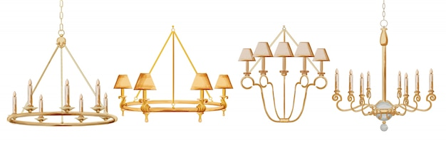 Set di cornici d'epoca di lampadario ad acquerello. arredamento elegante barocco.