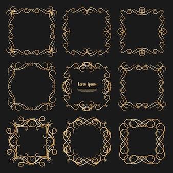 Set di cornici d'epoca divisori d'oro.