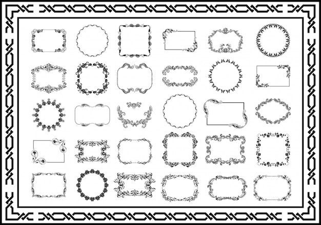Set di cornici d'epoca divisori di colore nero