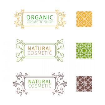 Set di cornici decorative con volute ed elementi floreali per cosmetici naturali.