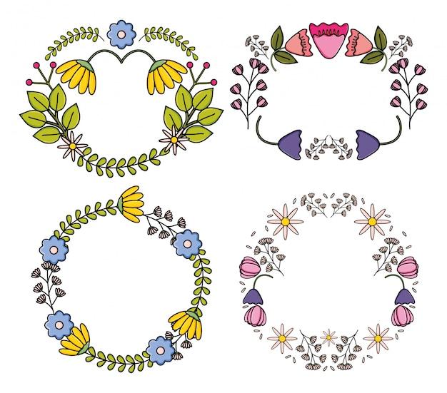 Set di cornici decorative di fiori piante da giardino