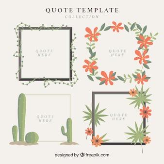Set di cornici decorative floreali per citazioni