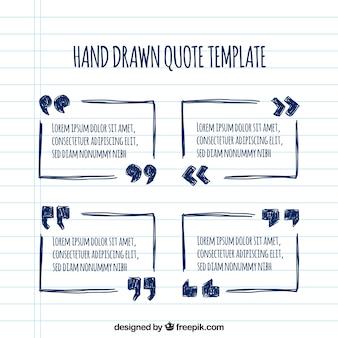 Set di cornici disegnate a mano per le citazioni