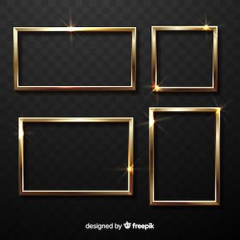 Set di cornici dorate realistiche
