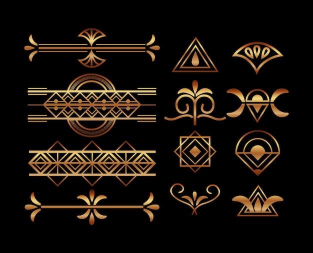 Set di cornici e bordi art deco