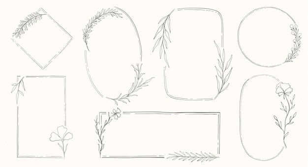 Set di cornici floreali. decor botanical element.elegante stile vintage.