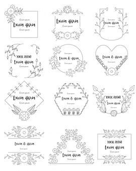 Set di cornici floreali disegnati a mano per il branding