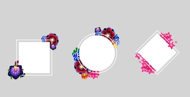 Set di cornici floreali quadrati, rombo, forma rotonda