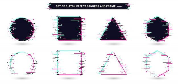 Set di cornici geometriche effetto glitch sfondo bianco.