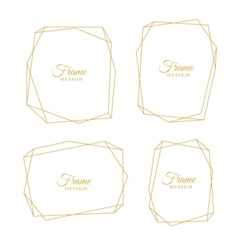 Set di cornici minimali linea dorata geometrica